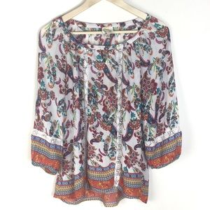 Anthropologie | Fig and flower floral blouse M
